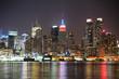 New York City Manhattan midtown skyline at night