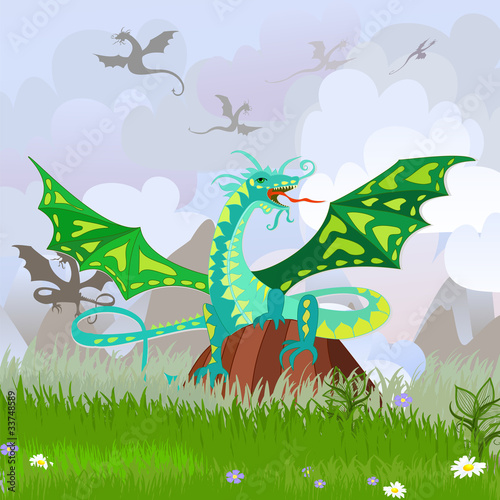 Keuken foto achterwand Dinosaurs green dragon on the rock landscape