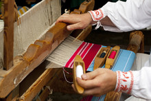 Wooden Loom With Weaver