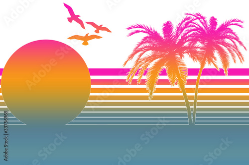 Photographie  Tropical Summer Sunset In The 80s - White