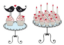 Cute Birthday Cupcakes, Vector