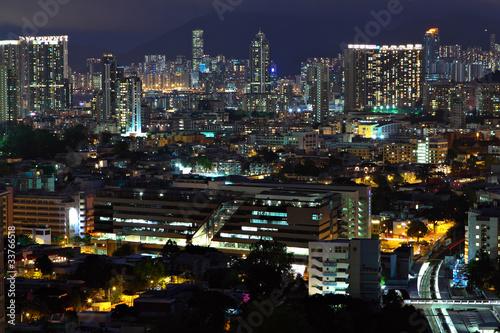 Aluminium Prints Los Angeles Hong Kong downtown at night