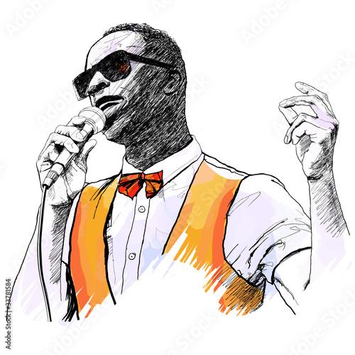 Staande foto Muziekband jazz singer
