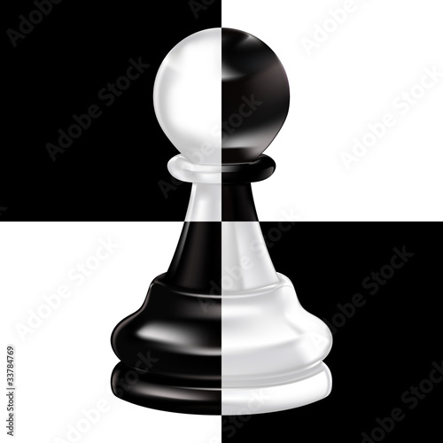 Fotografia black white pawn on chessboard