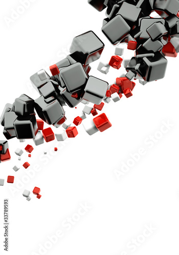 Papiers peints Rouge, noir, blanc 3d abstract background with glossy red and black cubes