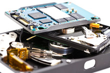 Detail Comparison Of  An Open 2.5 Disk Drive,  3.5 Disk Drive An