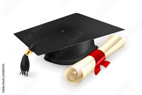 Carta da parati Graduation cap and diploma