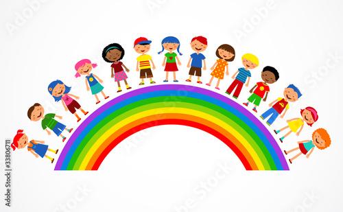 Keuken foto achterwand Regenboog rainbow with kids, colorful vector illustration