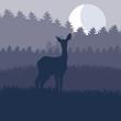 Rain deer in wild night forest foliage illustration