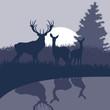 Rain deer family in wild night forest foliage illustration