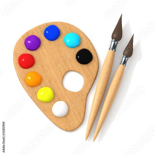 Fotografie, Obraz  3d Artists palette and brushes