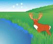 Dear hunting season foliage illustration vector