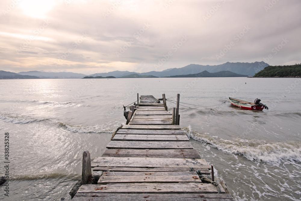 Fototapeta old jetty walkway pier the the lake