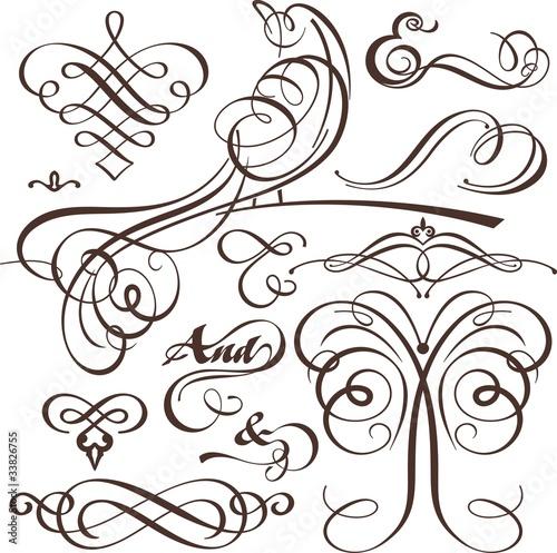 Keuken foto achterwand Vlinders in Grunge Wedding Calligraphy Set