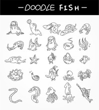 Hand Draw Aquarium Fish Icons ...