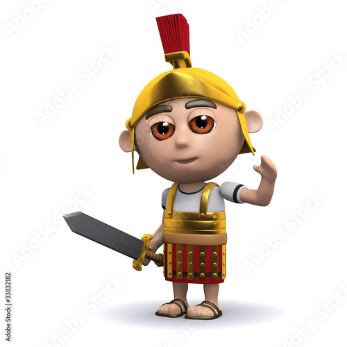 Poster de jardin Chevaliers 3d Roman soldier waves to the crowd