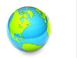 3d glossy green and blue earth on white background