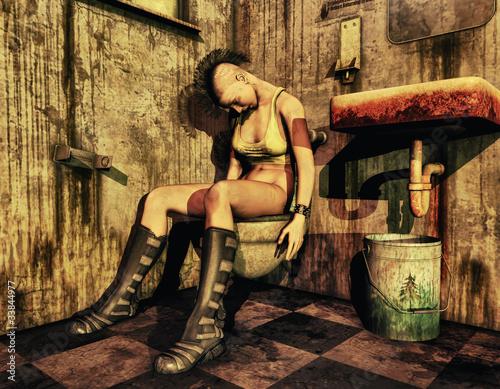 Fotografija  Punk Mädchen auf der Toilette