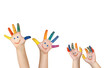 Leinwandbild Motiv bemalte Kinderhände