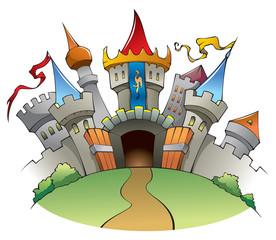 Srednjovjekovni dvorac, crtana vektorska ilustracija