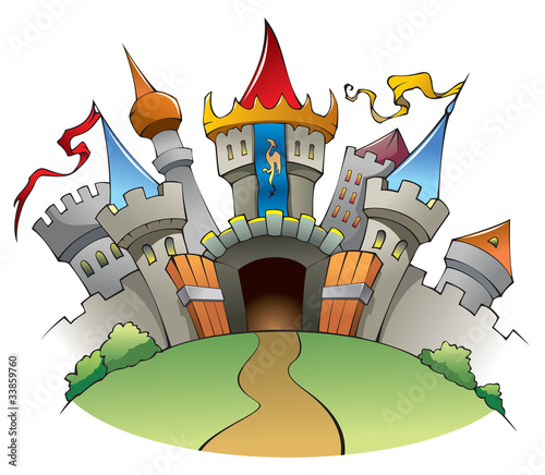 Deurstickers Kasteel Medieval castle, cartoon vector illustration
