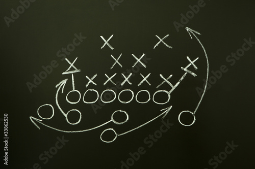 American Football Game Strategy Drawn On Blackboard