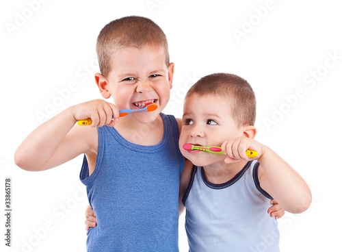 Photo Stands Grocery boys brushing his teeth