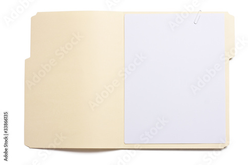 Fotomural Blank opened file folder with empty white paper
