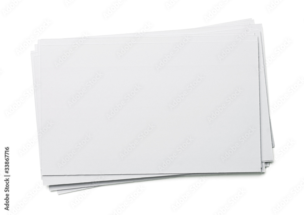Fototapeta Blank white index card isolated on white
