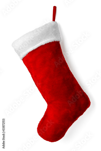 Photographie  Santa's red stocking isolated on white background for Christmas