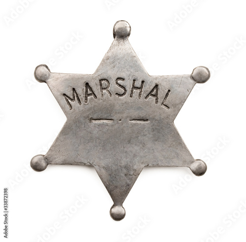 Vintage six point marshal star badge isolated on white Canvas Print