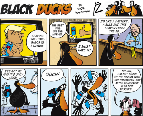 Printed kitchen splashbacks Comics Black Ducks Comics episode 69