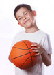 boy has ball for game in basketball isolated on white