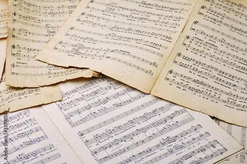 Vieux partitions musicales Tableau sur Toile