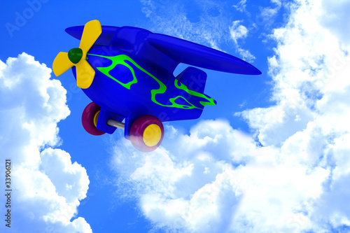 Papiers peints Avion, ballon Plane with yellow propeller fly in sky