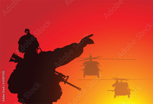 Militaire Vector silhouette of a soldier with helicopters