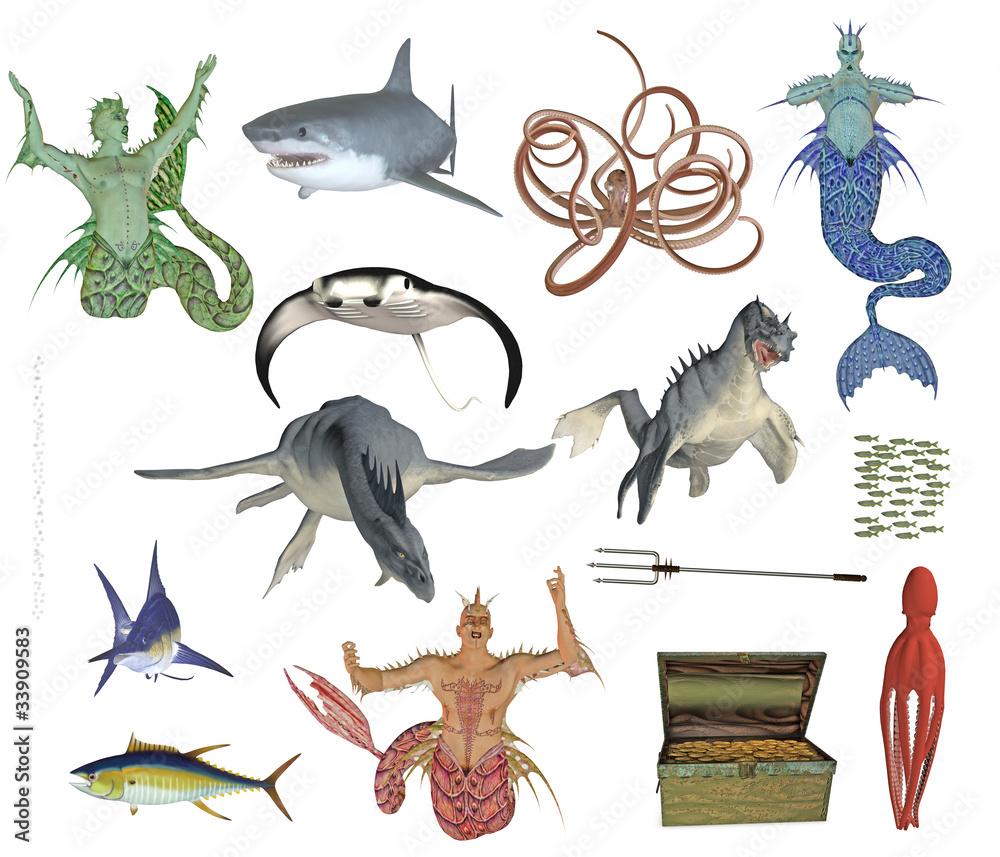 Photo mermen and sea monster