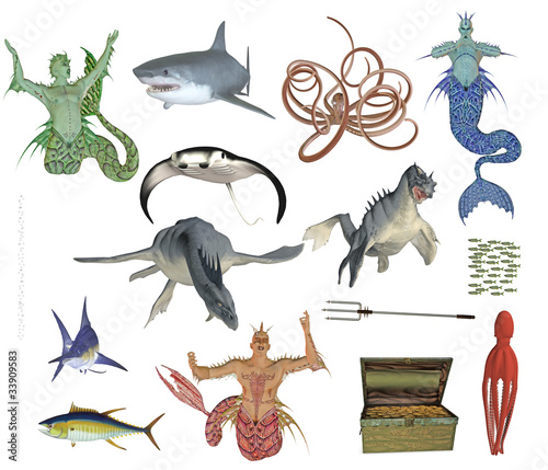 Photo mermen and sea monster