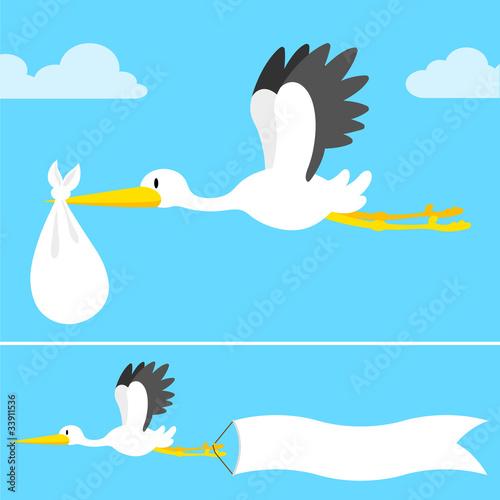 Carta da parati cartoon stork flying with banner and bundle