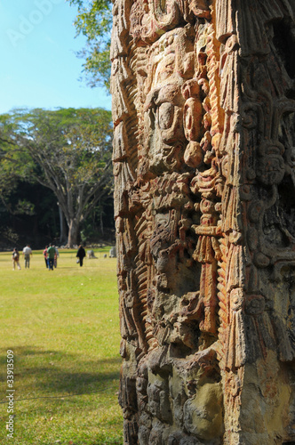 Sculptures in Archeological park in Copan ruinas Wall mural