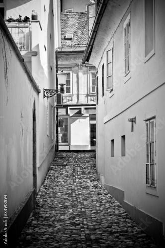Poster Smal steegje Old narrow street in Ljubljana, Slovenia