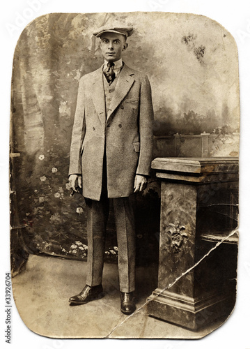 Fotografie, Obraz  Vintage Man in Checked Suit
