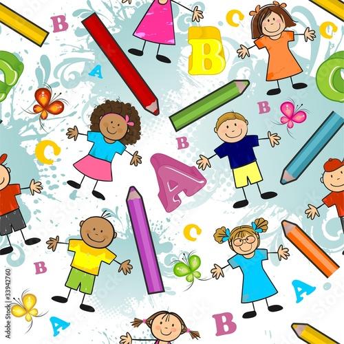 kolorowy-wzor-dzieci-z-kredkami