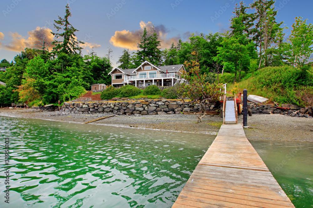 Fototapeta Luxury waterfront island house