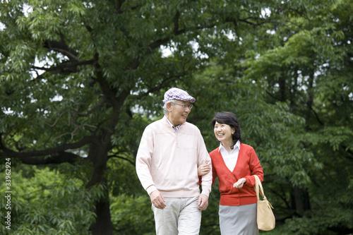 腕を組みながら公園を散歩する老夫婦 Poster