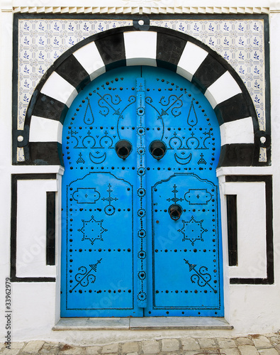 Photo sur Toile Tunisie Door, Sidi Bou Said
