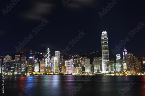 Poster Chicago Hong Kong skyline at night
