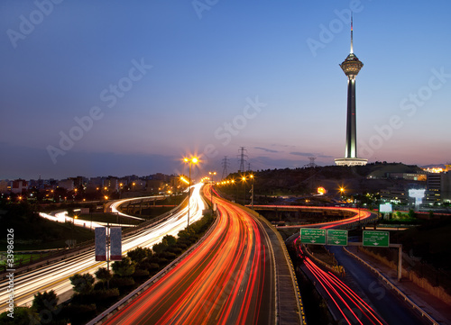Photo sur Aluminium Autoroute nuit Tehran at night