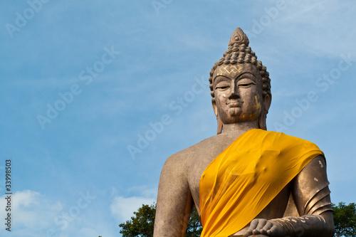 Photographie  Big Buddha Wat Thammanimit in blue sky