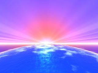 水平線の光